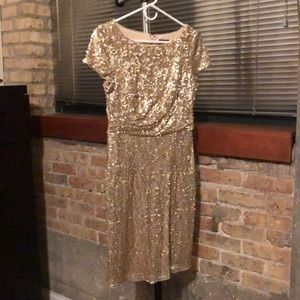 Gold Sequined Party Dress